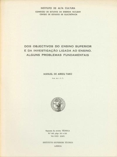 Dos objectivos do ensino superior e da investigação ligada ao ensino