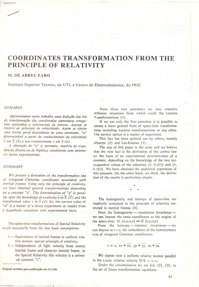Coodinates transformations from the principle of relativity