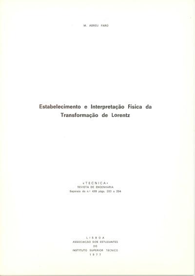 Estabelecimento e interpretação física da transformação de Lorentz