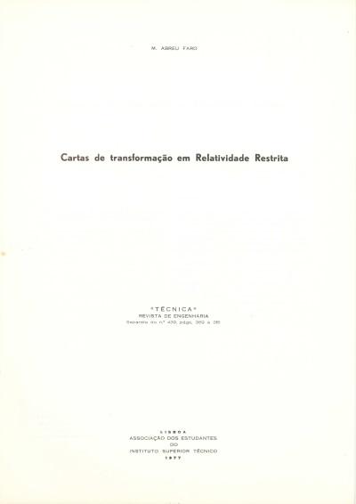 Cartas de transformação em relatividade restrita
