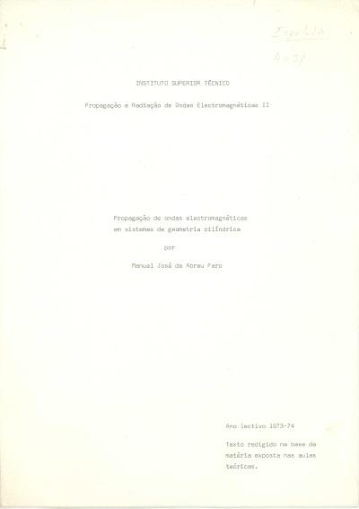 PROE II Propagação de ondas electromagnéticas em sistemas de geometria cilíndrica